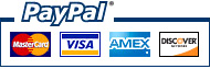 We Accept Visa, Mastercard, American Express and Discover through Paypal